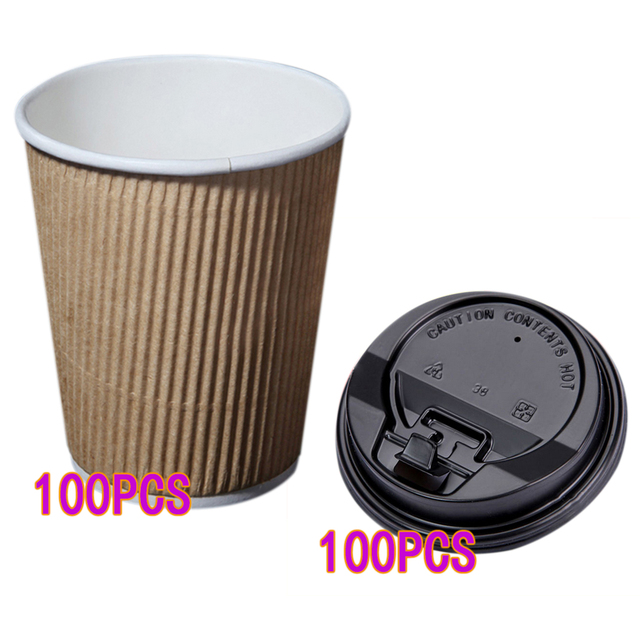 100pcs Disposable Kraft 8oz Paper Cups Ripple And Insulated Cups