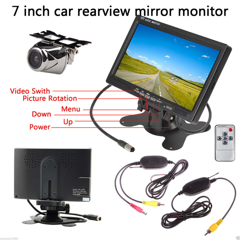 Hot Car Monitor Car Rear View Backup Parking Kit 7 Inch TFT LCD Monitor + Reverse Camer + Video Transmitter and Receiver Kit new high quality long clutch wallet women pu leather credit card holder hasp zipper design purse female carteira mulheres wallet