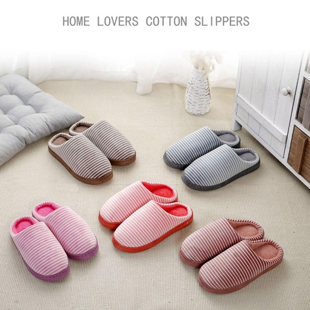 купить Soft Comfortable Cotton Fabric Slippers Home Slippers Anti-slip Winter Indoor Warm Slippers For Women по цене 118.86 рублей