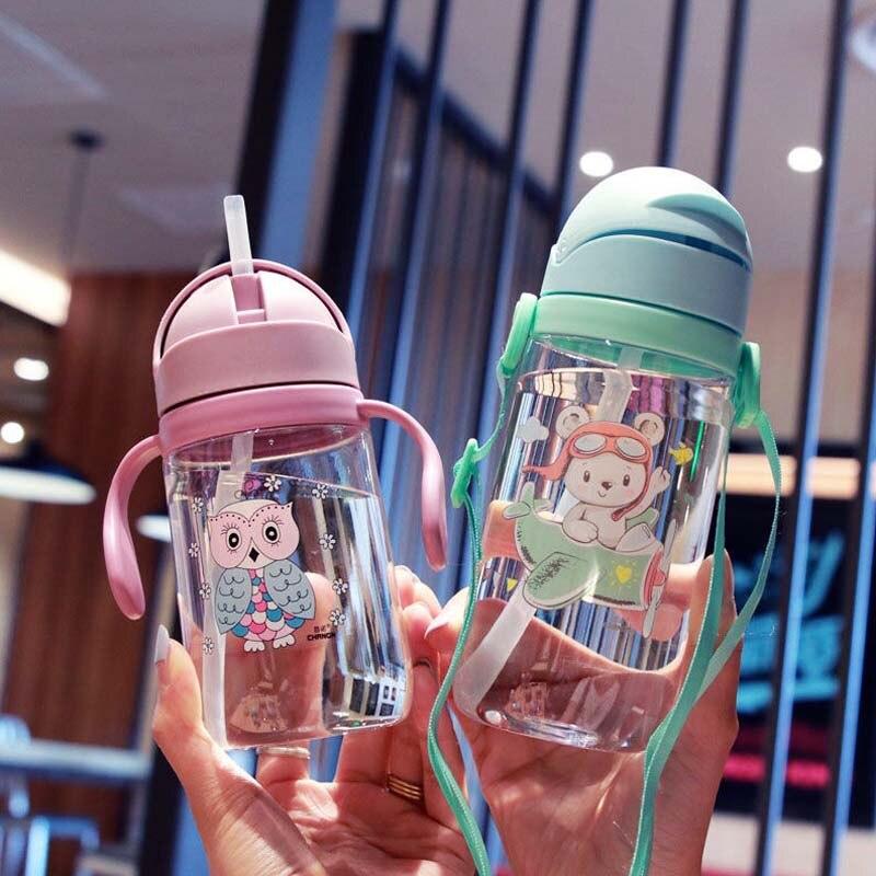 Hot 1Pcs 420ml Baby Kids Children Cartoon Animal School Drinking Water Straw Bottle Sippy Cup With Shoulder Strap Feeding