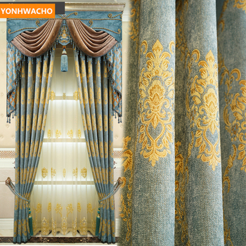 Custom curtains Luxury European living room high-end Jacquard thick chenille cloth blackout curtain tulle valance drapes B338