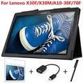 4 em 1 inteligente capa de couro dobrável para lenovo tab 2 x30f x30m a10-30f/70f 10.1 polegada tablet case + tela de cinema protetor + caneta + otg