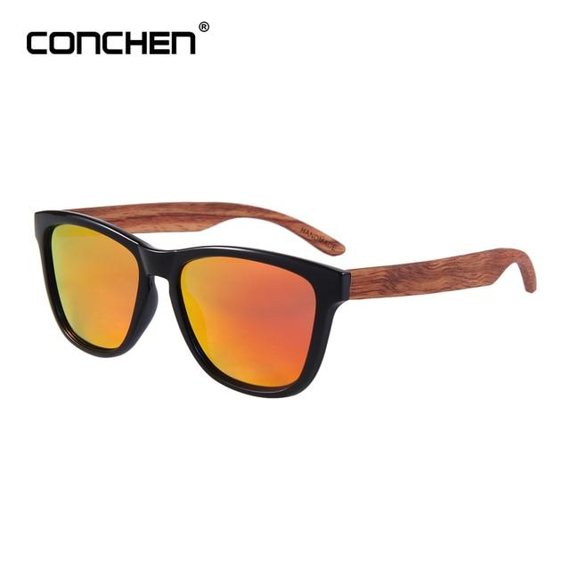 110697425f CONCHEN Wooden Sunglasses Spring Hinge Men bamboo Sun glasses Ladies Brand  Designer