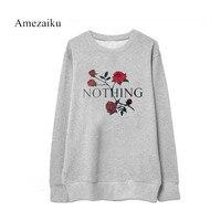 2017 Funny Nothing Letter Print Fleece Sweatshirt Kawaii Rose Printing Tops Women 2017 Autumn Winter Casual