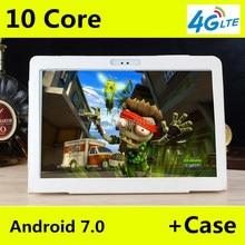 Nueva 10 pulgadas 4G LTE Comprimidos Deca Core Android 7.0 RAM 4 GB ROM 64 GB Dual Tarjetas SIM 1920*1200 IPS HD de 10.1 pulgadas Tablet Pc + Gifs