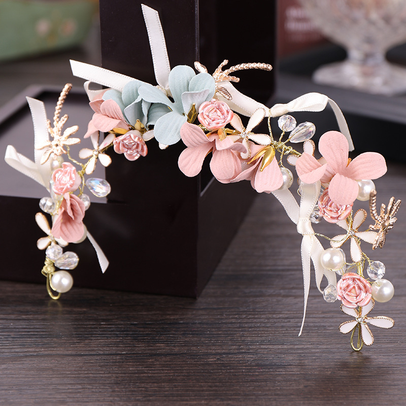 Fairy Romantic Flower Girl Head Flower Accessories Child Headband Pearls Wedding Accessories For Kids Pink Flowers Hand