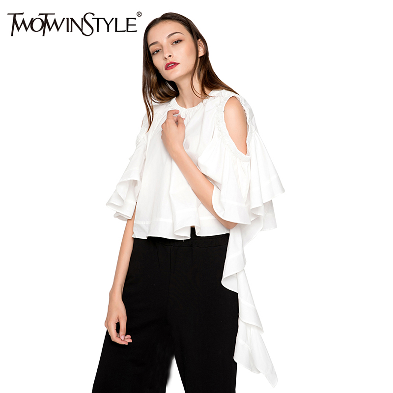 TWOTWINSTYLE Ruffle Butterfly Sleeve White Women's   Blouse     Shirt   Off Shoulder Sexy Tops Female Casual Clothes Korean Large Sizes