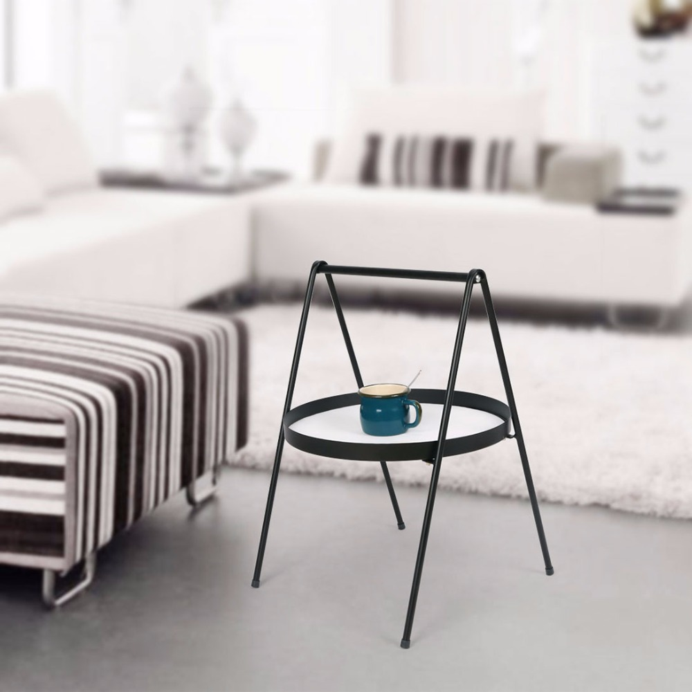 цена на Metal Round Small Side End Table Iron Sofa Side Corner Snack Tray Side Table For Sofa Indoor Outdoor  Use