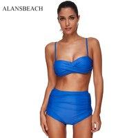 ALANSBEACH New Blue Color Women Swimwear Suit High Waist Design Patterned Two Piece Brazilian Bikini Sexy
