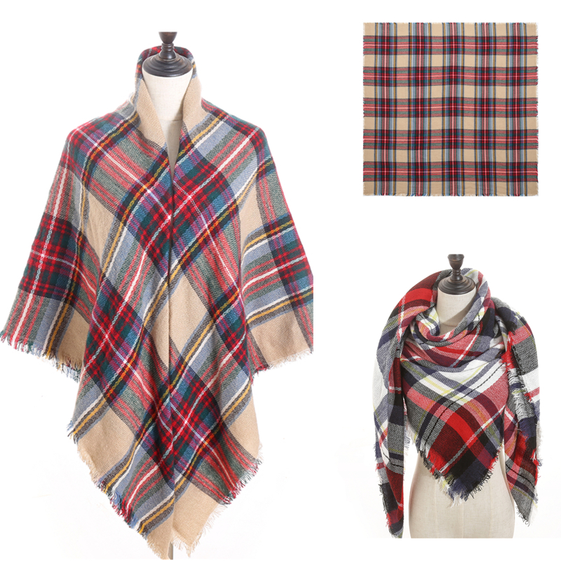 2019 Winter Scarf Luxury Brand Women Cashmere Scarves Designer Knit Warm Shawls And Wraps Plaid Big Square Blanket Lady Pashmina