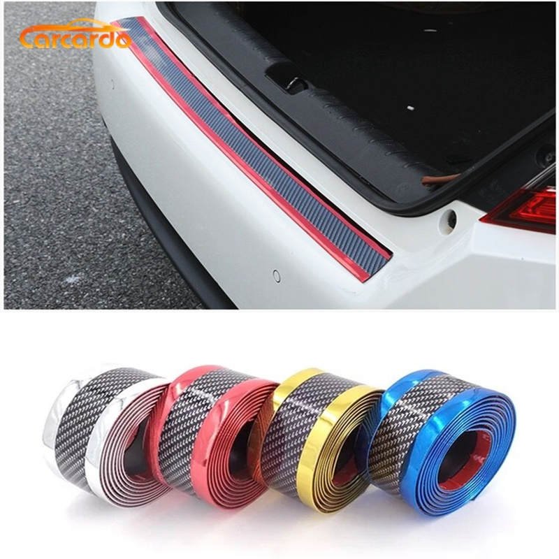 Carcardo 3D Carbon Fiber Protector Strip Car Bumper Strip Protector Chrome Door Sill Sticker Rubber Exterior Accessories