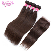 Queen Love Hair Pre-Colored 100% Human Hair Indian Stranight  Bundles With Closure #2 Color Non Remy Hair Extension