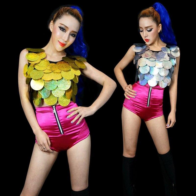 Mulheres Ds cantora de Jazz trajes de dança Hip hop paillette tops sexy modern