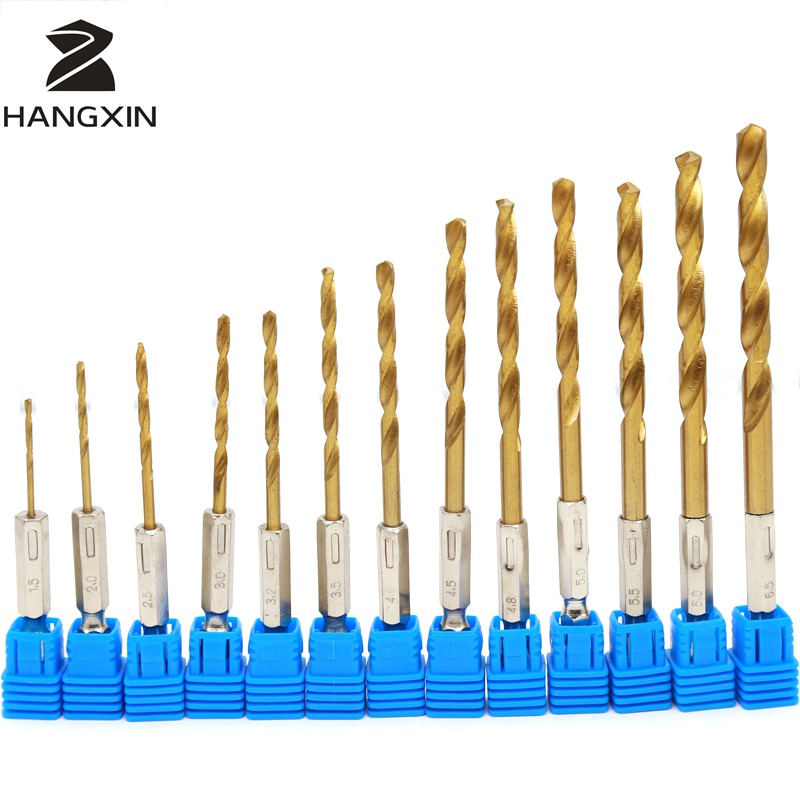13PCS Hss Titanium Coating High Speed Steel Drill Kit 1.5-6.5mm, Metal Drilling Round Shank, Power Tools Woodworking Drilling ninth world 13pcs 1 5 6 5mm hexagonal screw drills power tools woodworking tools high speed steel 1 4 hex shank drill bit set