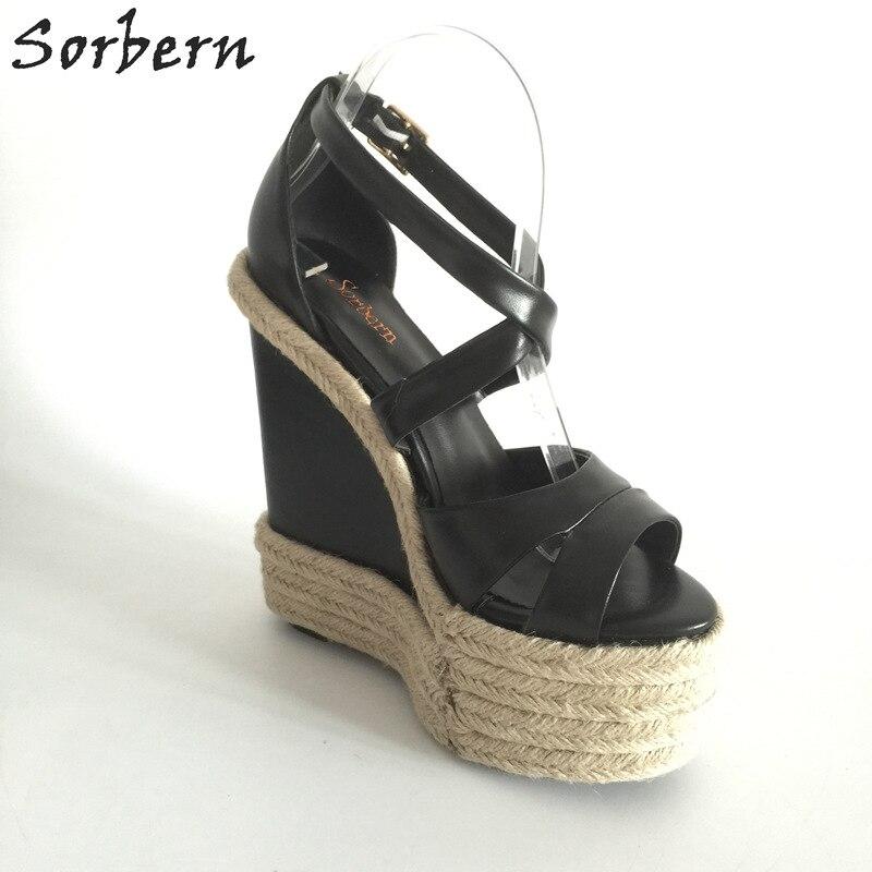 Sorbern Touw Wig Hakken 18 Cm/7 Hoge Hakken Maat 13 Schoenen Voor Vrouwen Plus Size 34 46 Custom Open Teen Sandalen 2018 New Arrivals - 3