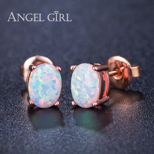 blue fire earrings white stud wedding sterling women silver beautiful party fashion opal for item