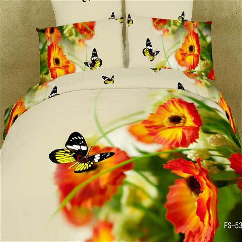 3d Poppy Orange Flowers And Butterfly Bedding Sets Queen Size 100% Cotton  Fabric Bed Linens