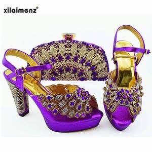 Image 3 - 2019 新ピーチ色ファッションラインストーン女性の靴とマッチングバッグセットアフリカスタイルは靴やバッグセットにパーティー