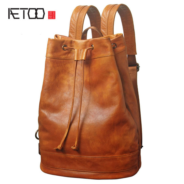 6c26bccd98c8 AETOO Leather shoulder bag men bag retro first layer leather leisure bag  fashion trend travel backpack