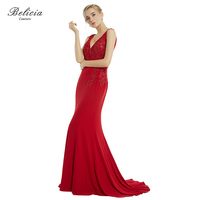 Belicia Couture Women Red Evening Dresses Appliques Beading Formal Mermaid Party Gown Double V Neck Long