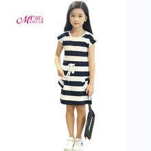 цена на Girls Summer Dress 2019 New Fashion Design Striped Girls Dress Elegant Party Cotton Summer Kids Girls Clothes 4 6 8 10 12 Years