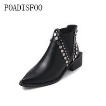 POADISFOO 2017 New Women Fashion High Quality autumn women's Motorcycle boots Pointed Toe Square heels  Ankle Boots .MD-8867