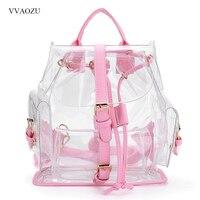 Harajuku Women's Summer Backpack Clear Plastic PVC Transparent Shoulder Bag Ladies Travel Bag Schoolbag Satchel Mochila Feminina