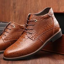 2018 Men boots genuine leather shoes men winter shoes thick plush flat snow boots size 38 - 46