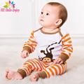 He hello enjoy ropa infantil primavera juegos de ropa de algodón mono lindo 2 unids (manga larga romper + pants) Baby girl boy ropa