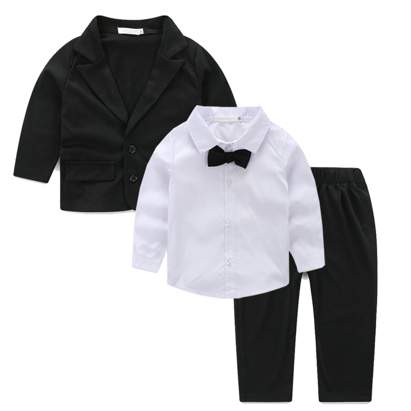 3 pieces/set Baby Boys Formal Blazer Suits for Weddings Toddler Jacket+Blouse+Pants Costume Infant Cotton Single Breasted Blazer