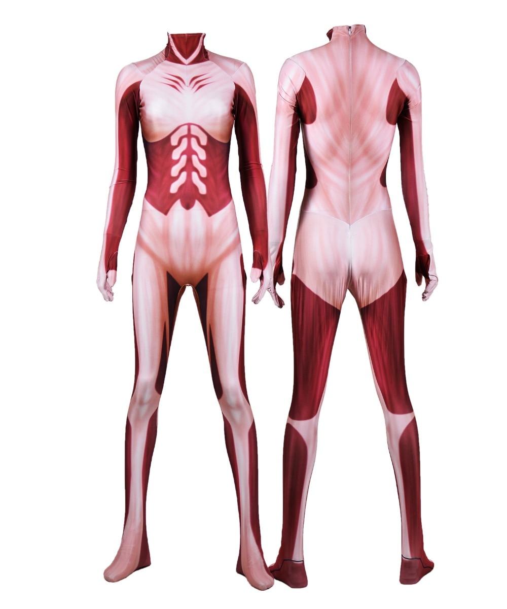 Annie Leonhardt Female Titan Cosplay Costumes 3D Print Attack on Titan Halloween Zentai Catsuit Lycra Woman