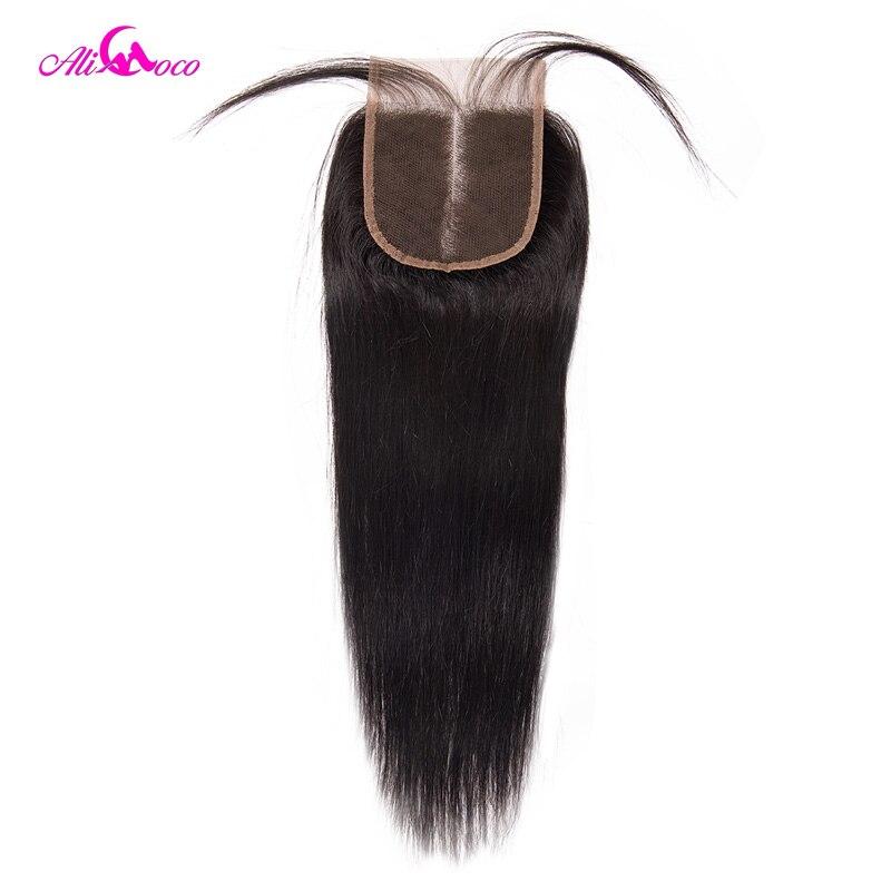 Ali Coco Haar Brasilianische Gerade Spitze Schließung Mit Baby Haar 4*4 Mittelteil Menschliches Haar Verschluss Nicht Remy haar Freies Verschiffen