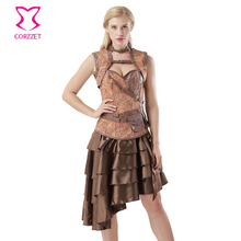 Brown Vintage Print Denim Jacket + Skirt + Corset Gothic Dresses Burlesque Dress Steampunk Clothing Women Corselet Plus Size 6XL