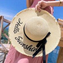 Шляпа женская летняя шляпа соломенная шляпа широкая с полями пляжная канотье модные ручной плоской подошве бант края панама лето головные уборы для женщин козырек от солнца женский шляпы