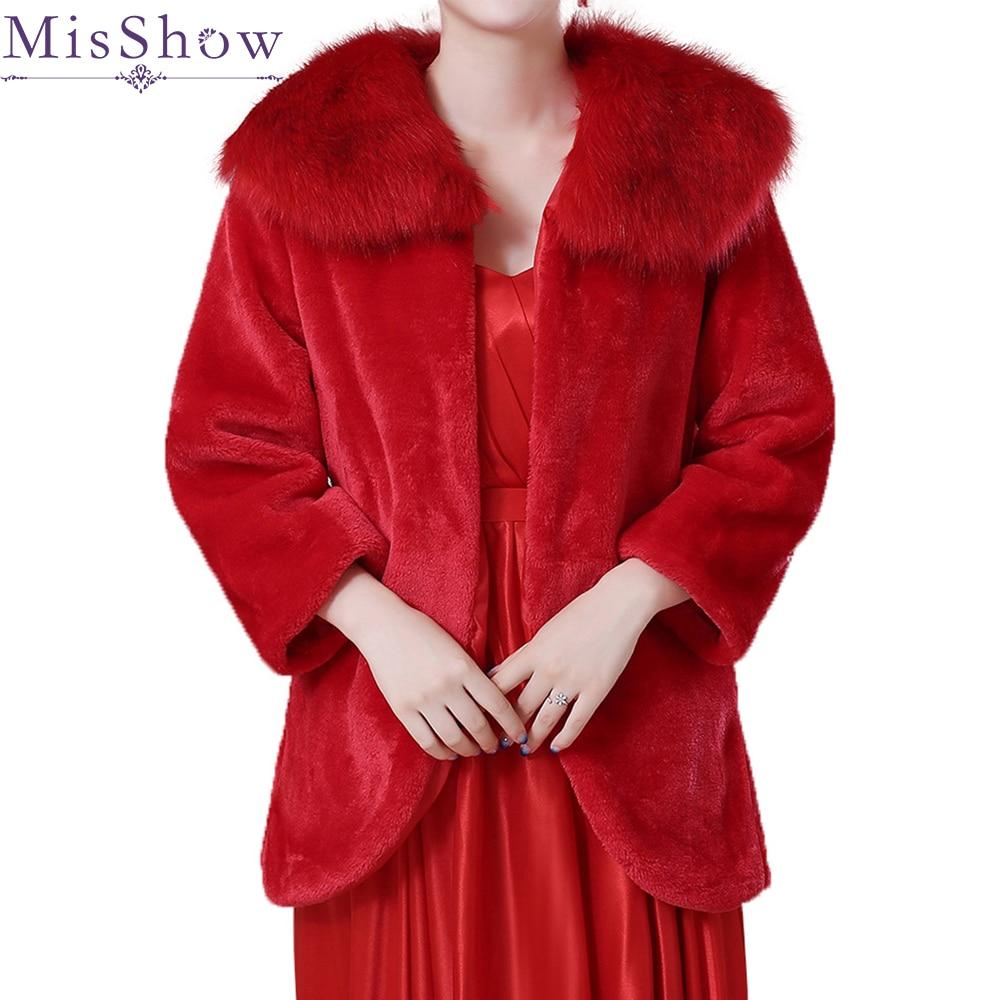 New High Quality Faux Fur Bolero Long Sleeves beige red Wedding Jackets Winter Warm Coats Bride Wedding Coat Wedding Accessories