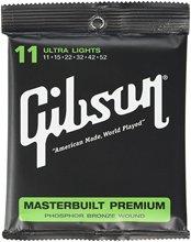 Gibson SAG-MB11 Masterbuilt Premium Phosphor Bronze Acoustic Guitar Strings, Ultra Light, 011-052