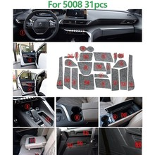 21 Pcs Anti-Slip Door Groove Mat Felted Wool For Peugeot 2008 3008 5008 Accessories Gate Slot Pad 2014-2017