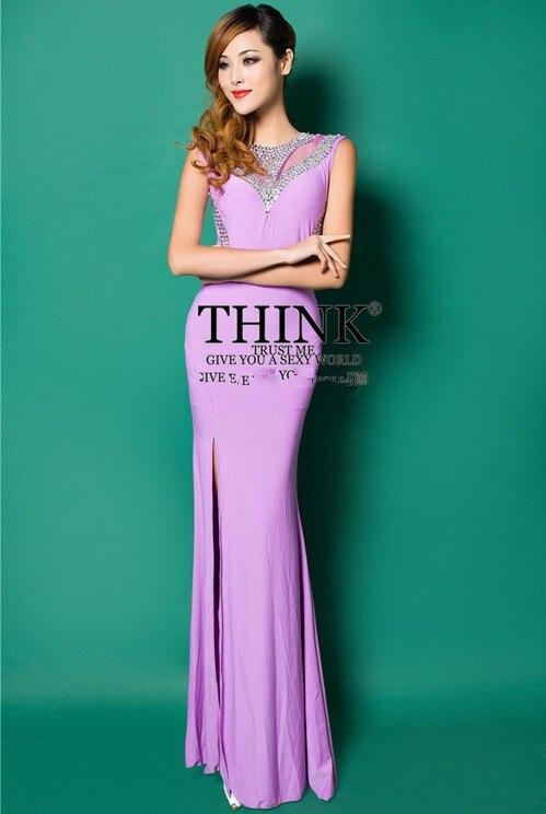 Распродажа с О-образным вырезом Crstyal Длинные платья для вечеринки вечерние платья Robe de soiree Abiti da сывороток vestido de festa longo com H0620 - Цвет: Purple