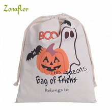 Zonaflor 10pcs Halloween Canvas Bag Pumpkin Drawstring Shopping Stocking Gift Bags Festive Party Decoration For Kids Gift