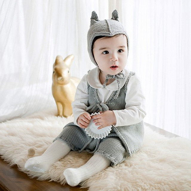Children's clothing wool knitted boys girls baby vest pants suit infant clothing baby set 4 colors free shipping
