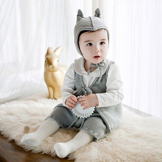 Ropa para niños de punto de lana niños niñas chaleco del bebé del juego de pantalones del bebé que arropan el sistema 4 colores liberan el envío