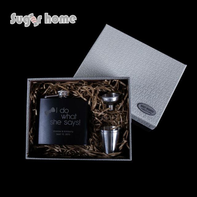 Mealivos Personalized Engraved 6 oz Black Stainless Steel Hip Flask vodka alcohol bottle Wedding Birthday groomsmen gift Box