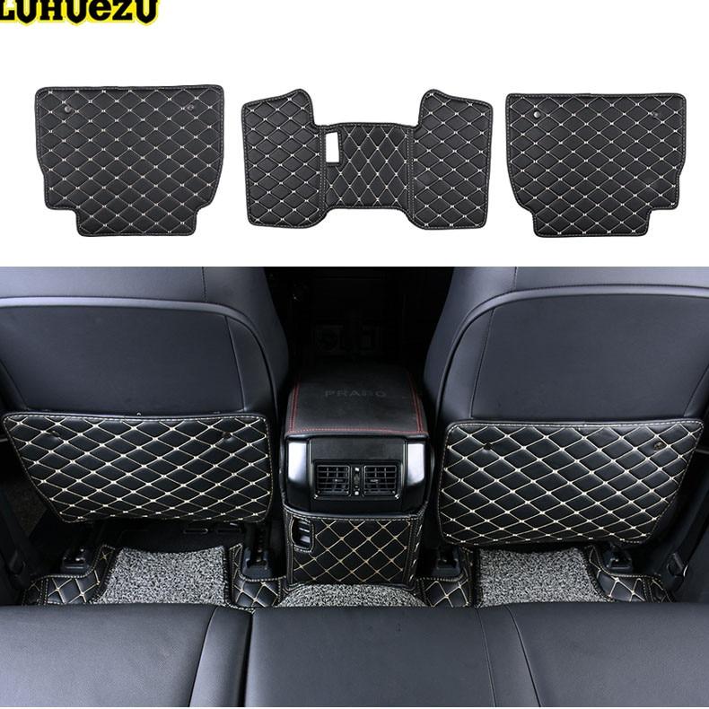Luhuezu 3pcs Leather Car Auto Center Console Armrest Pad Cover For Toyota Land Cruiser Prado LC150 FJ150 2010 2017 Accessories