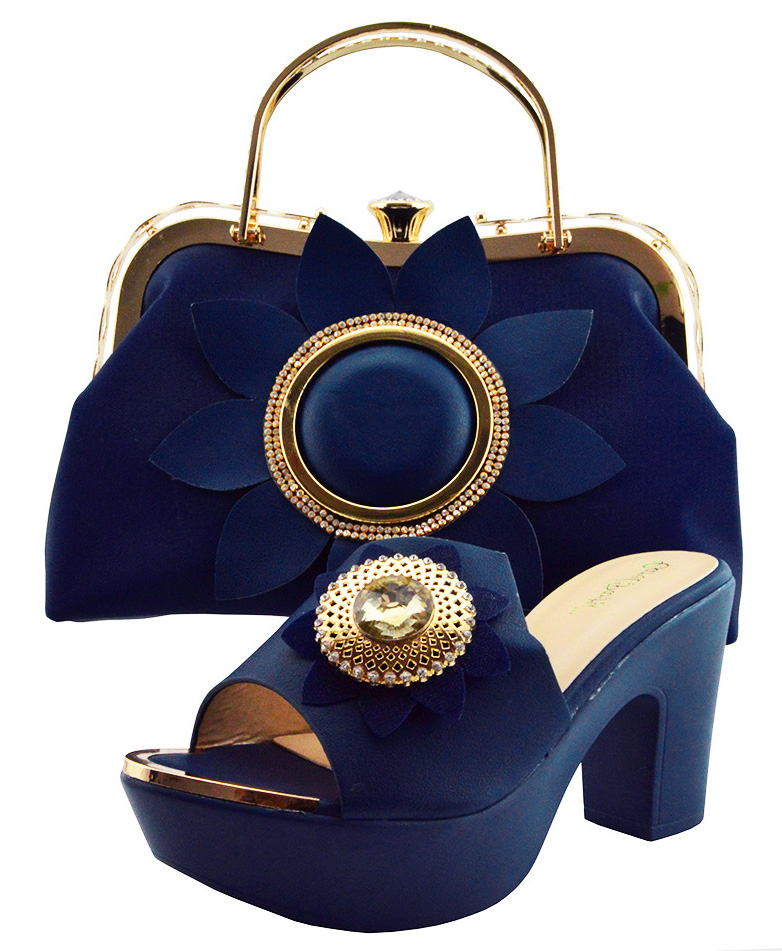 Shoes and bag matching set in italy design for african aso ebi lady size 38 to 42 high heel navy blue shoe bag set SB8198-8 bag matilda italy bag page 8