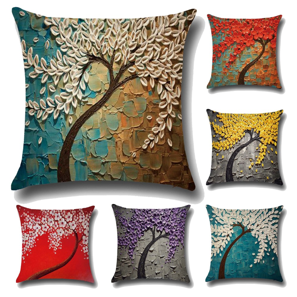 Oil Painting Tree Flower Pattern Decorative Pillows Covers Cushion Throw  Pillow Case For Sofa Home Office Chair Home Decor