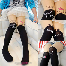 2017 NEW Summer Children's Baby Kids Girls Thin Tights Pantyhose Knee Fake Tattoo Velvet Stocking white Cartoon Kitty Cat