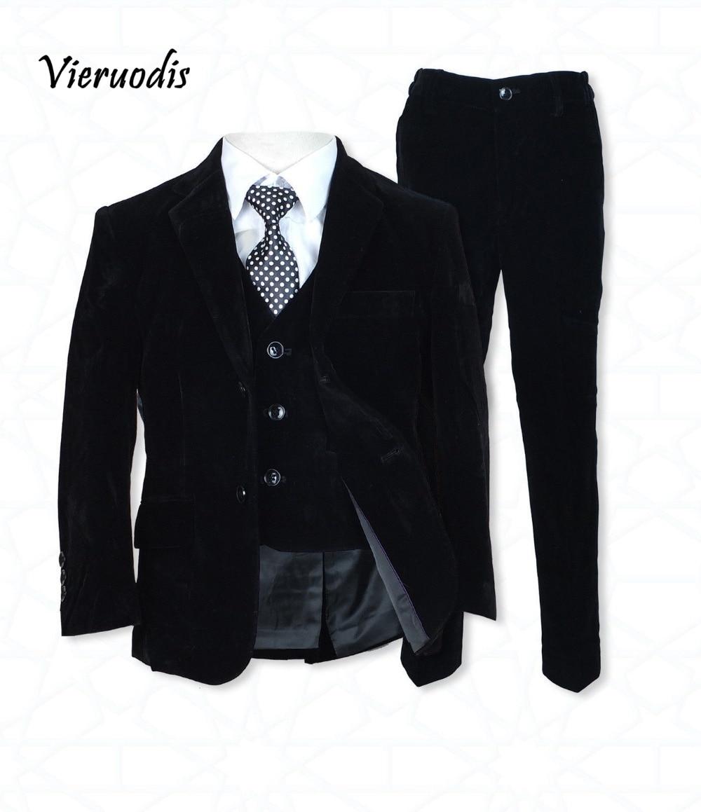 Boys Black Velvet Suits Pageboy Suits Wedding Suits Children's Formal Wear 3 Pcs Flannel Suit Custon Made