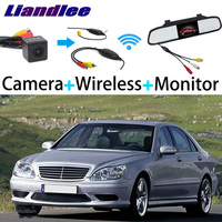 Liandlee 3in1 Wireless Receiver Mirror Monitor Special Rear View Camera Backup For Mercedes Benz S Class MB W220 1998~2006