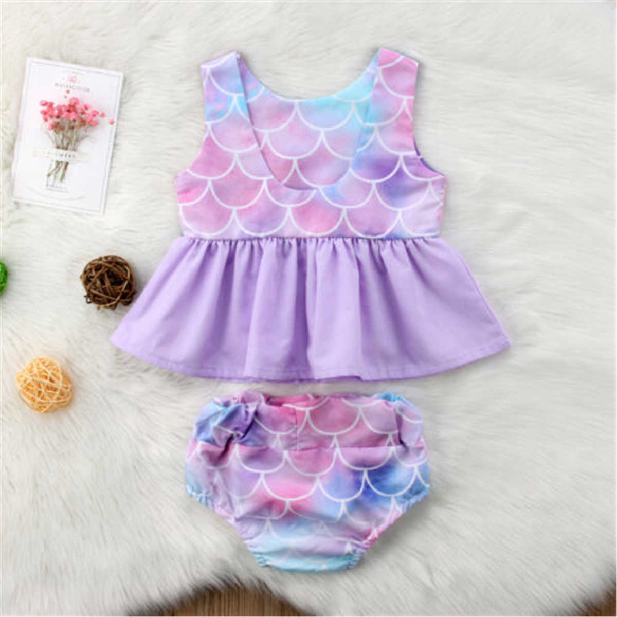 Vestido con tutú de sirena para niñas recién nacidas, Tops + Pantalones cortos, falda playera de verano, atuendo, ropa
