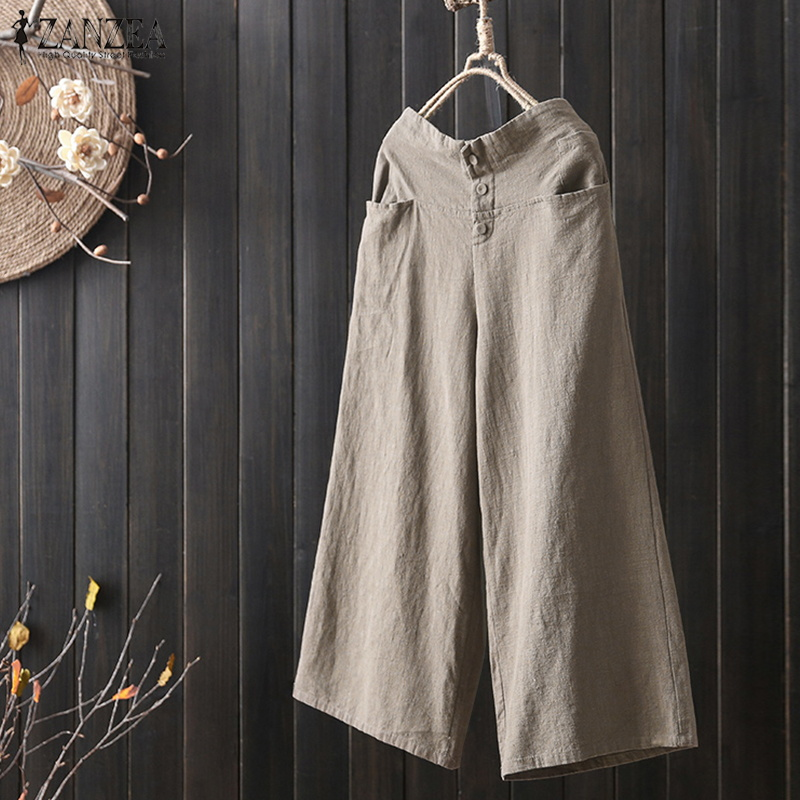 S 5XL ZANZEA 2018 Casual Women Elastic Waist Pockets Vintage Solid Cotton Linen Work Long Loose Trousers Pantalon   Wide     Leg     Pants